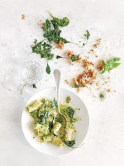 Rigatoni with green monster pesto and kale chips from