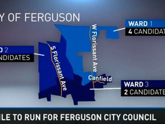 Ferguson is divided into three wards. Eight candidates