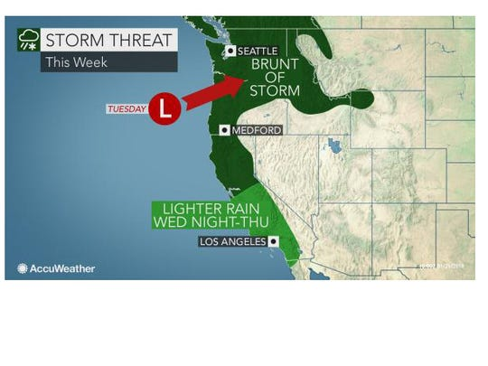 The heaviest rain from the next storm will be in northern