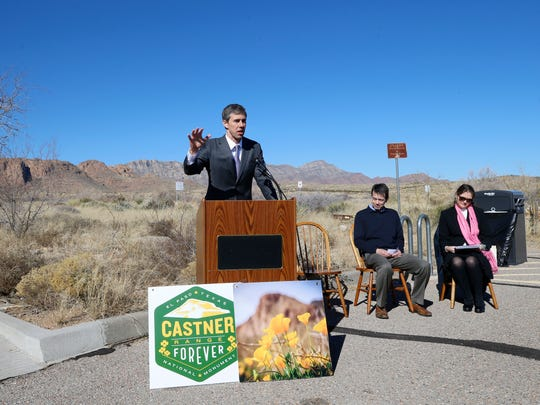 U.S. Rep. Beto O'Rourke, D-El Paso, left; Eric Pearson, president and CEO of the El Paso Community Foundation; and Janae Renaud Field of the Frontera Land Alliance on Friday announce the El Paso Community Foundation's creation of the Fund for Castner Range to support conservation efforts at the 7,000-acre former military firing range on the east side of the Franklin Mountains at the El Paso Museum of Archaeology. The Castner Range fund includes contributions from an anonymous donor and several small gifts in support of the conservation efforts.