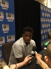 Frank Ntilikina answers questions Wednesday at NBA Draft Media Day. The 18-year-old French point guard could be in play at No. 8 to the Knicks on Thursday evening