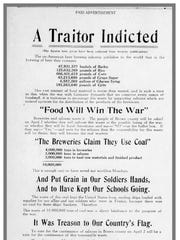 An advertisement by the Brown County Dry League run in the March 15, 1918 edition of the Green Bay Press-Gazette uses war rationing and appeals to citizens' patriotism to admonish breweries.