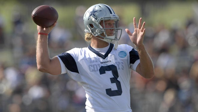 Jul 24, 2017; Oxnard, CA, USA; Dallas Cowboys quarterback Zac Dysert (3) throws a pass during the opening day of training camp at River Ridge Fields. Mandatory Credit: Kirby Lee-USA TODAY Sports