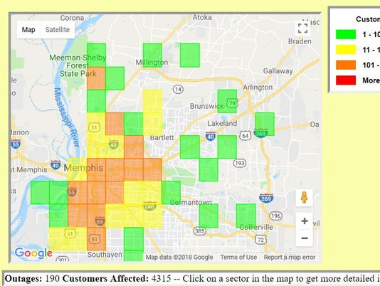 MLGW's July 16 power outages