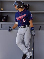 Jason Kanzler awaits his at-bat during an April game at Century Link Sports Complex in Fort Myers.