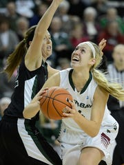 UW-Green Bay's Mariah Monke (44) drives to the basket