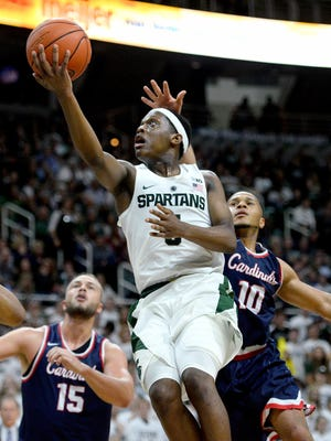 Michigan State Spartans guard Cassius Winston goes up for a shot during the second half of MSU's 87-77 exhibition win over Saginaw Valley State on Nov. 2, 2016 at Breslin Center.