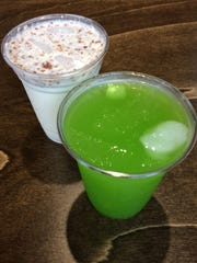 Plaza Mariachi: Aguas frescas from Paletas Tocumbo/ coconut pecan and cucumber lime.