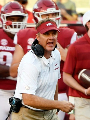 FILE - In this Saturday, Sept. 15, 2018, file photo, Arkansas coach Chad Morris reacts to a call during the first half of an NCAA college football game  against North Texas in Fayetteville, Ark.  Arkansas takes on Texas A&M on Saturday in the home stadium of the Dallas Cowboys in Arlington, Texas. (AP Photo/Michael Woods, File)