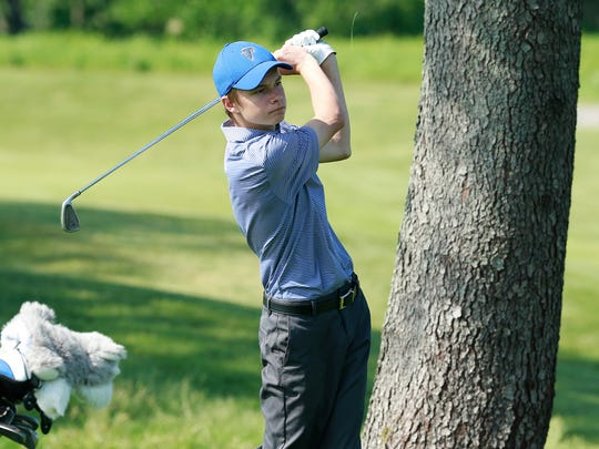 Amherst's Vince Omernik hits a shot on the No. 10 fairway during the WIAA Division 2 state boys golf tournament last June at University Ridge Golf Course in Madison.