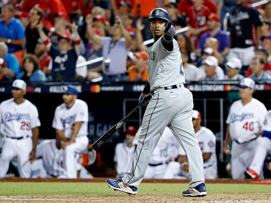 American League infielder Jean Segura of the Seattle Mariners (2) reacts after hitting a three run home run during the eighth inning against the National League in the 2018 MLB All Star Game at Nationals Ballpark. Segura used to play for the Diamondbacks.