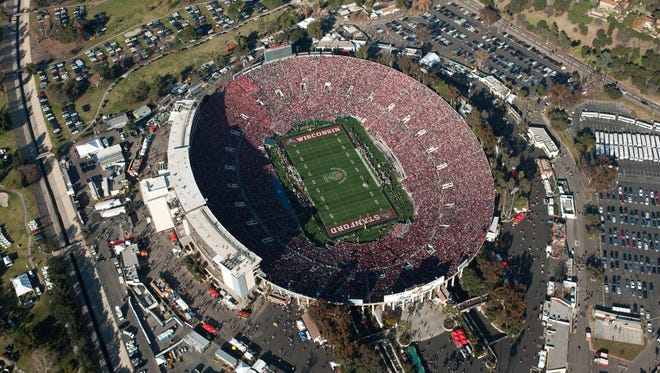 An aerial view of the Rose Bowl, site of Monday's BCS National Championship Game. The NCPA plans to fly a banner of protest over the stadium prior to the game.