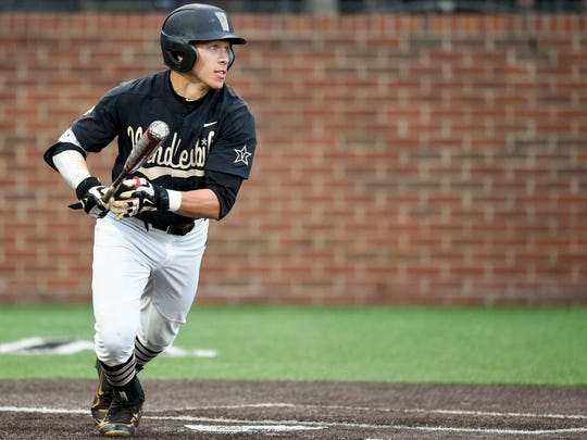 Vanderbilt's Jeren Kendall (3) watches his RBI single in the third inning against Washington in the NCAA Regional on June 4, 2016.