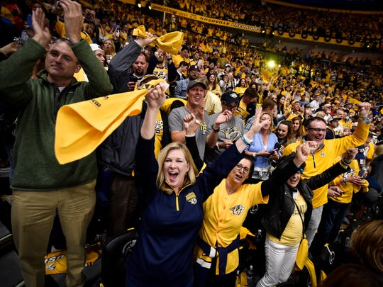 Fans cheer after the Nashville Predators defeated the Anaheim Ducks in game 3 of the Western Conference finals at the Bridgestone Arena in Nashville, Tenn., Tuesday, May 16, 2017.