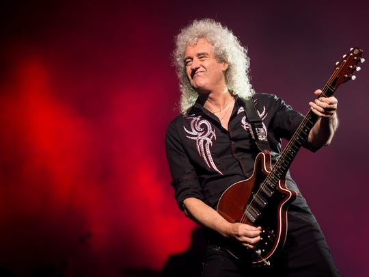 Brian May performs with Queen at Bridgestone Arena in Nashville, Tenn., Wednesday, Aug. 2, 2017.