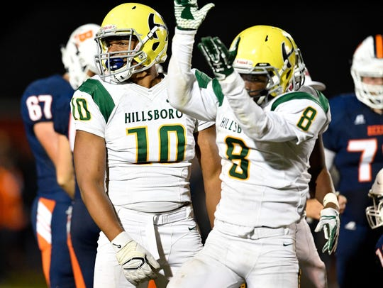 Hillsboro's Joe Honeysucker (10) has committed to Memphis