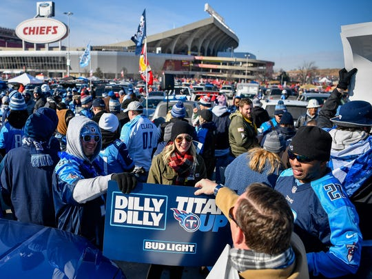 Titans fans tailgate before the game between the Chiefs and the Titans at Arrowhead Stadium Saturday, Jan. 6, 2018 in Kansas City , Mo.