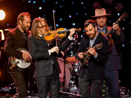 The Steep Canyon Rangers perform during the Charlie Daniels Volunteer Jam XX: A Tribute to Charlie at Bridgestone Arena in Nashville, Tenn., Thursday, March 8, 2018.