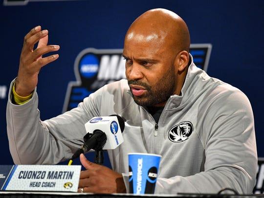 Missouri head coach Cuonzo Martin speaks before practice