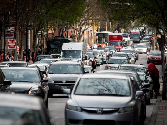 Rush-hour traffic crowds Second Avenue North in Nashville on April 3, 2018.