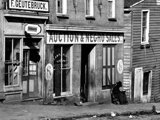 Slave trader's business in Atlanta, Georgia, 1864.