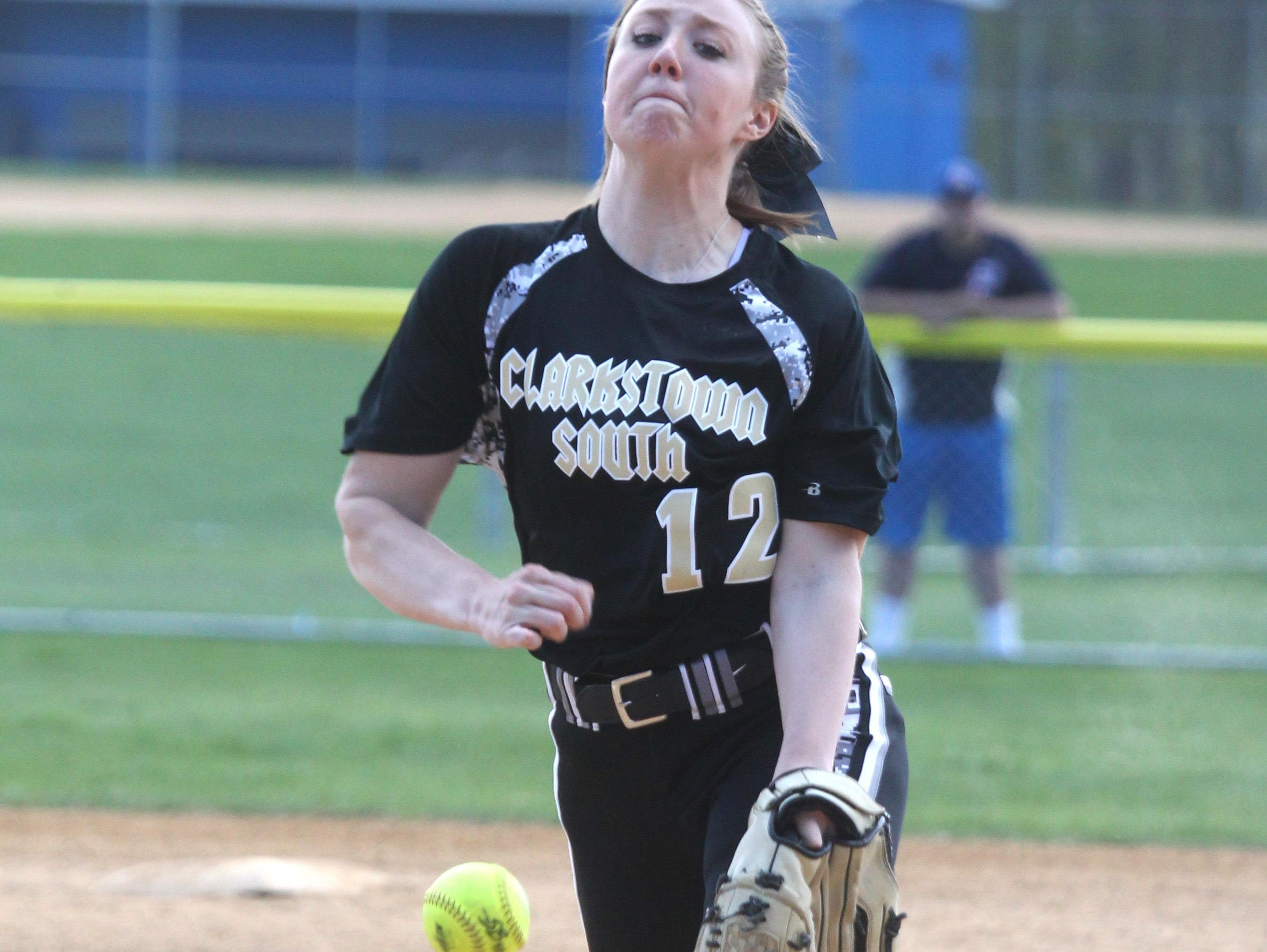 Clarkstown South's Briana Keaveney delivers a pitch during a game at Pearl River May 2, 2015.