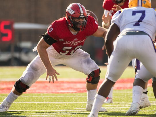Jacksonville State center Casey Dunn shown during a