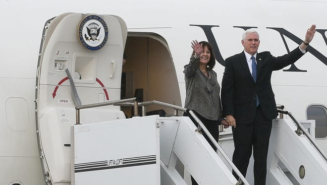 Vice President Pence and his wife arrive at Kennedy Space Center, FL Tuesday, Feb. 20, 2018. The Vice President will be touring nearby Cape Canaveral Air Force Station today and attending a meeting of the National Space Council Wednesday.