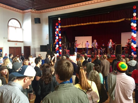 Bernie Sanders supporters rallied at a concert Saturday