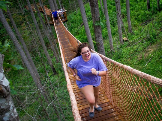 Guests can walk through the Treetop Canopy Walk, which includes connected skybridges and viewing platforms, at Anakeesta in Gatlinburg.