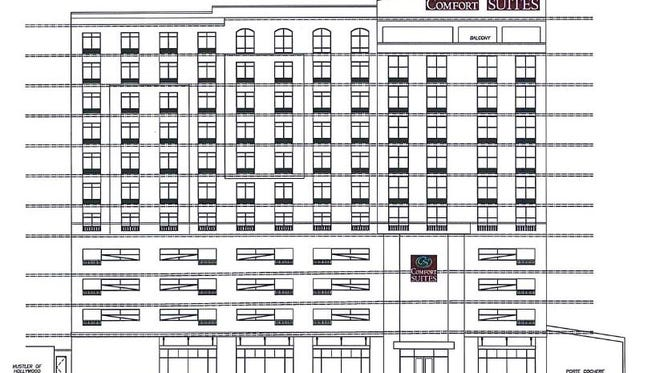 An exterior elevation of the Comfort Suites planned for 14th and Church Street. It shows the front facing 14th Avenue North.