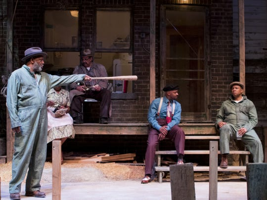 """David Alan Anderson, Kim Staunton, Terry Bellamy, James T. Alfred and Marcus Naylor perform in Arizona Theatre Company's """"Fences."""""""