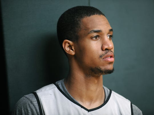 Draft prospect Eric Maynor looks on from the sideline during Indiana Pacers practice at Conseco Fieldhouse on Thursday, June 18, 2009. Maynor has the chance to be selected with the 13th pick in next week's draft.