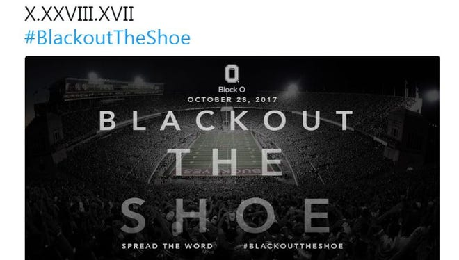 Block O - Ohio State's student section - tweeted this as they lobby for a blackout when OSU hosts Penn State on Saturday, Oct. 28.