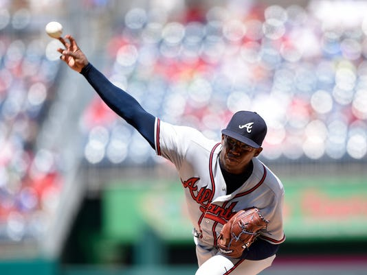 Atlanta Braves starting pitcher Tyrell Jenkins delivers during the first inning of a baseball game against the Washington Nationals, Sunday, Aug. 14, 2016, in Washington. (AP Photo/Nick Wass)