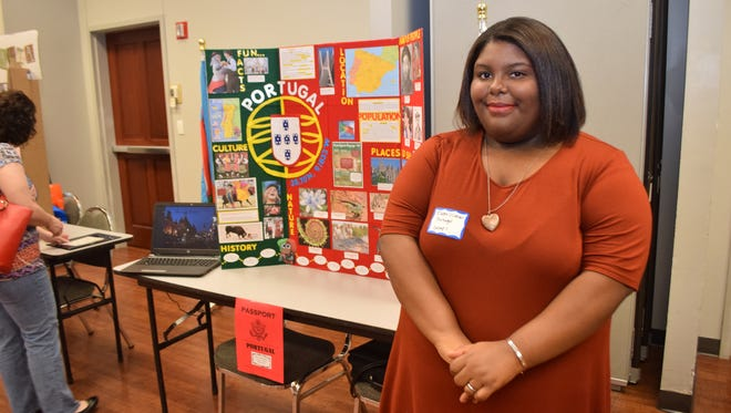 Eboni O'Conner did a project on Portugal for the Louisiana Homeschool Geography Fair held at Louisiana College Thursday.
