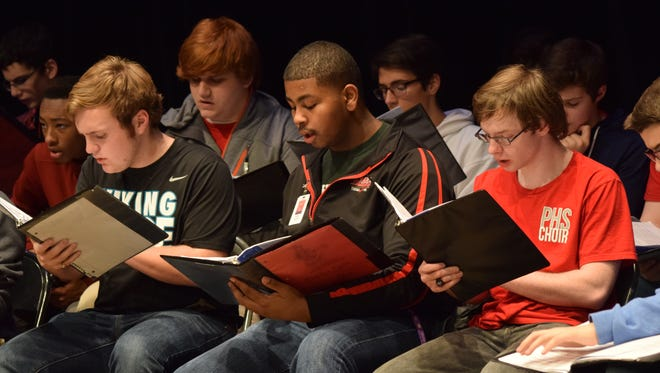 Honor choir students rehearse Friday afternoon at Pineville High School. District II Vocal Music Teachers Association will hold its annual Honor Choir this weekend, including a free concert at Pineville High at 11 a.m. Saturday.