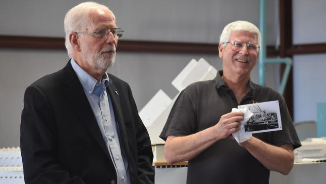 """Bill Muzzy, former engineer of the """"Daisy Track"""" Decelerator, visited the New Mexico Museum of Space History Saturday morning to talk about the work he and others accomplished on the Daisy Track such as seat belt and airbag testing."""