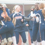 Delmar celebrates a home run by Shelby Murphy against Laurel on Thursday afternoon.