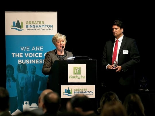 Dr. Suzanne McLeod, Superintendent of Union-Endicott Central School District, accepts the Innovative Award on behalf of the Tiger Ventures high school during during the Greater Binghamton Chamber of Commerce 2018 Economic Outlook and Building BC Awards, held on Tuesday, February 13, 2018, at the Holiday Inn in downtown Binghamton.