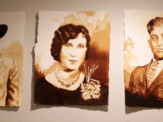 Freelance artist Allie Maier began painting with coffee as a student at St. Norbert College. Her first pieces were recreations of family members' portraits. Sarah Kloepping/USA TODAY NETWORK-Wisconsin