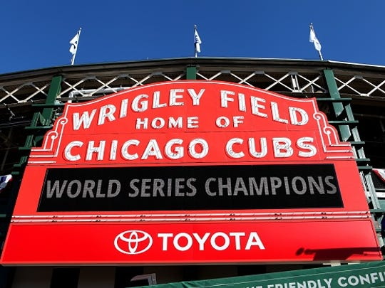 The Wrigley Field marquee, displaying 'World Series Champions' after the Chicago Cubs' world series win against the Cleveland Indians in Chicago, Illinois on November 3, 2016.