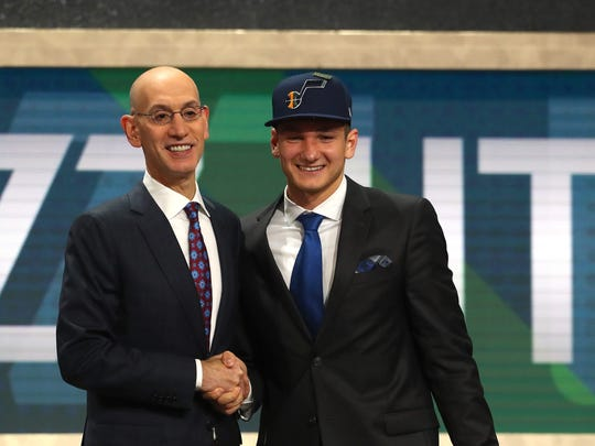 Grayson Allen poses with NBA Commissioner Adam Silver