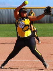 Alamogordo senior Rosemary Tave winds up to throw a