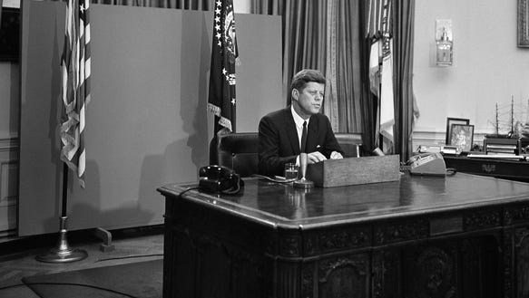 President John F. Kennedy delivered his first radio-television