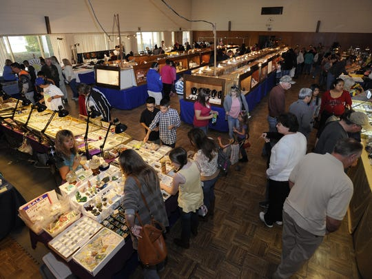 Rock enthusiasts enjoy the 58th annual Gemboree at the Exeter Veterans Memorial Building in Exeter in this file photo.