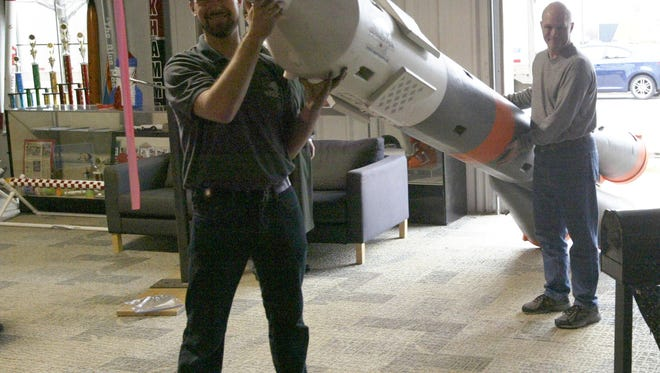 An 18-foot tall scale model of the Russian-made Soyuz rocket arrived at Spaceport Sheboygan on Monday.