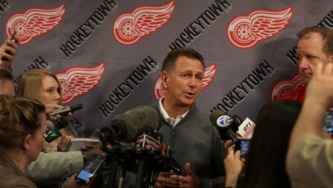 Detroit Red Wings GM Ken Holland talks to the media about the departure of coach Mike Babcock on May 20, 2015.