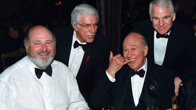 From left, Rob Reiner, Dick VanDyke, Carl Reiner and Steve Martin at the party following Carl Reiner's 1999 induction in to the The Academy of Television Arts and Sciences Hall of Fame.