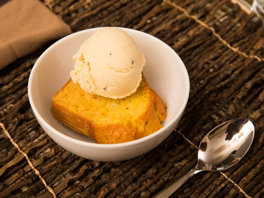 Orange blossom olive oil cake with sweet corn and black pepper ice cream by Top Home Chef finalist Jordan Urnovitz, Tuesday, September 27, 2016.